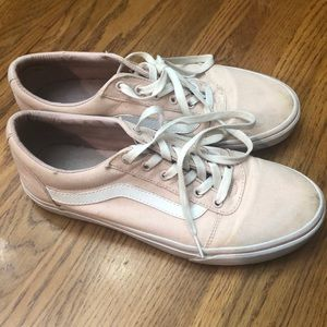 Light pink vans with white stripe. Women's size 11